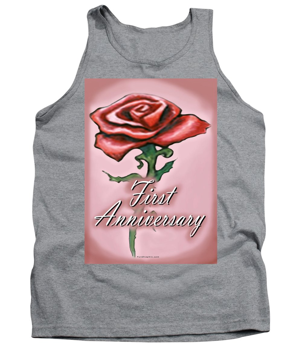 First Tank Top featuring the greeting card First Anniversary by Kevin Middleton