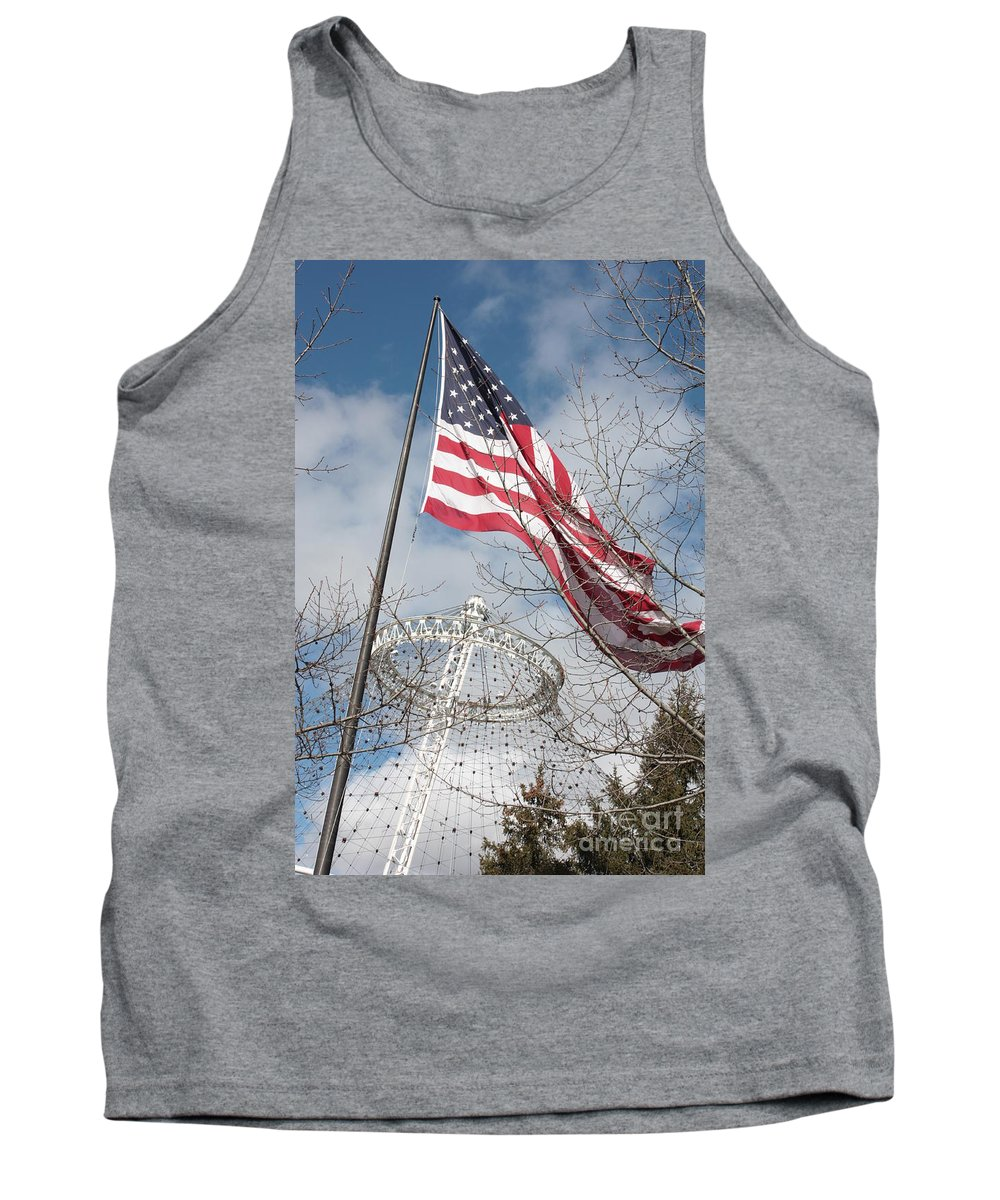 American Flag Tank Top featuring the photograph Flag Over Spokane Pavilion by Carol Groenen