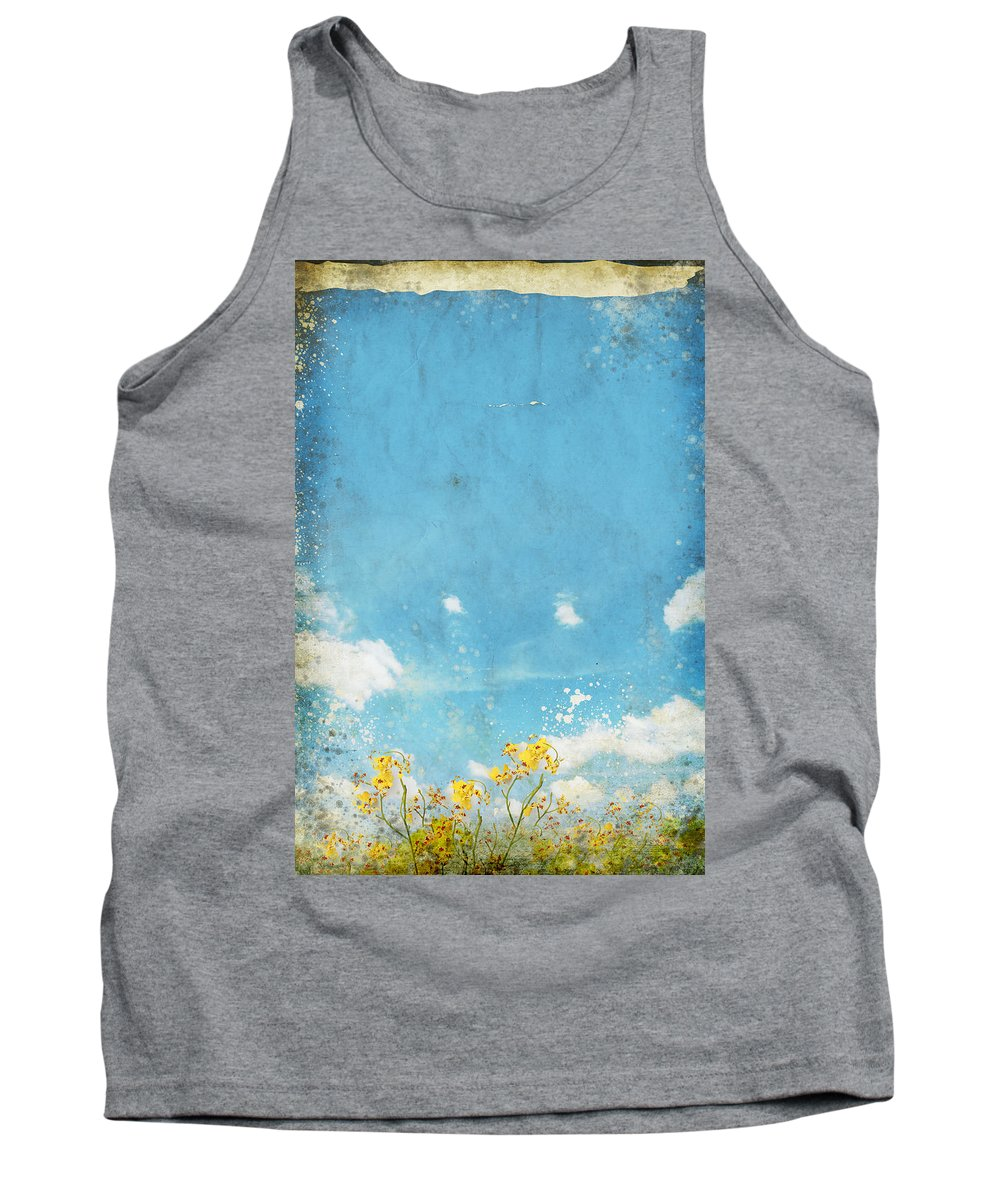 Abstract Tank Top featuring the painting Floral In Blue Sky And Cloud by Setsiri Silapasuwanchai