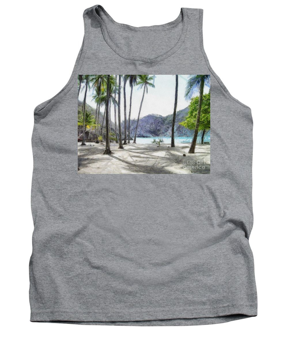 Landscape Tank Top featuring the painting Florida Beach by Murphy Elliott
