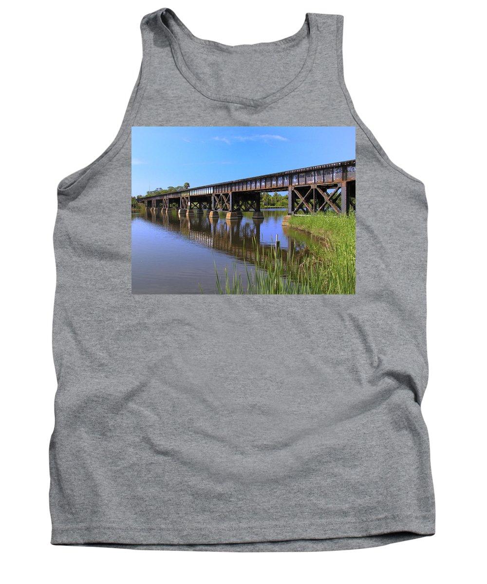 Florida; East Coast; Railroad; Railway; Track; Bridge; Trestle; Road; Roadbed; Bed; Ties; Engine; Lo Tank Top featuring the photograph Florida East Coast Railroad Bridge by Allan Hughes