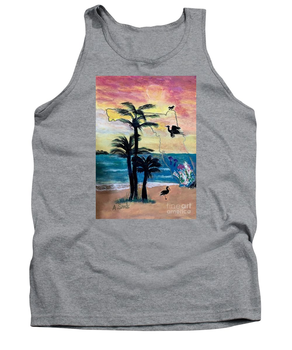 Florida Map Heron Sunset Palm Tree Seascape Tank Top featuring the painting Florida Images by Anne Sands