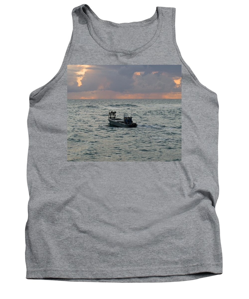 Florida; Lobster; Lobstermen; Lobsterman; Boat; Trap; Catch; Haul; Traps; Sebastian; Inlet; Atlantic Tank Top featuring the photograph Florida Lobstermen At Dawn by Allan Hughes