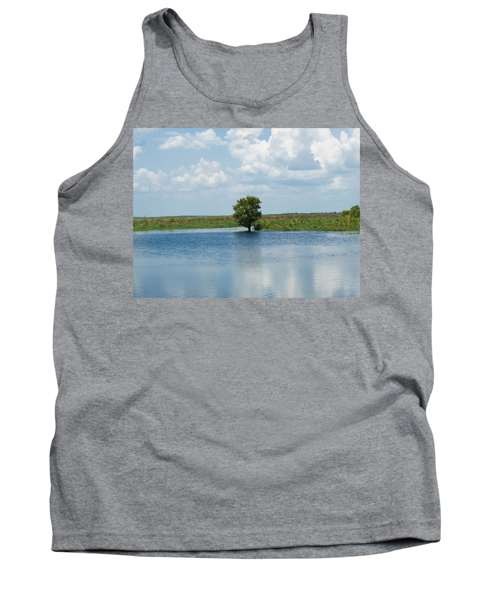 Florida; River; St; Johns; Saint; John; Flow; Flows; North; South Direction; Flowing; Current; Backw Tank Top featuring the photograph Florida River Backwater by Allan Hughes