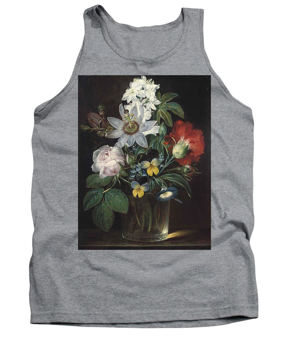 Andreas Theodor Mattenheimer Tank Top featuring the painting Flower And A Delphinium In A Glass Vase by Theodor Mattenheimer