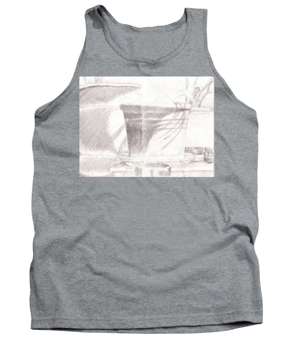 Flower Pots Tank Top featuring the drawing Flower Pots by James Ath