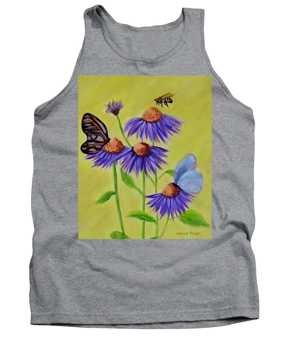 Butterfly Tank Top featuring the painting Flowers And Butterflies by Jamie Frier