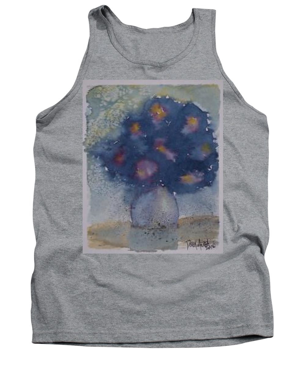 Watercolor Tank Top featuring the painting Flowers At Night Original Abstract Gothic Surreal Art by Derek Mccrea