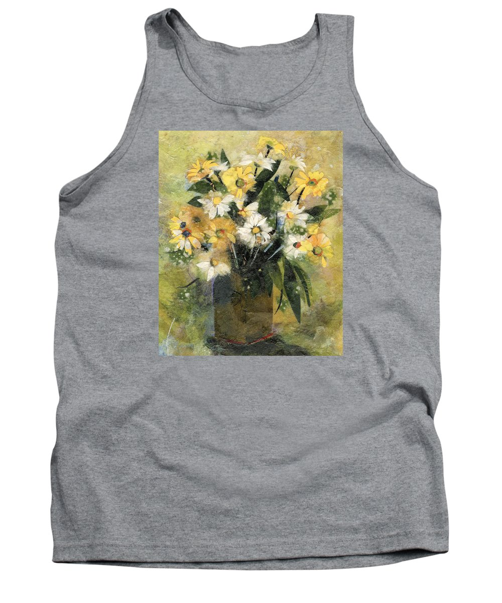 Limited Edition Prints Tank Top featuring the painting Flowers In White And Yellow by Nira Schwartz