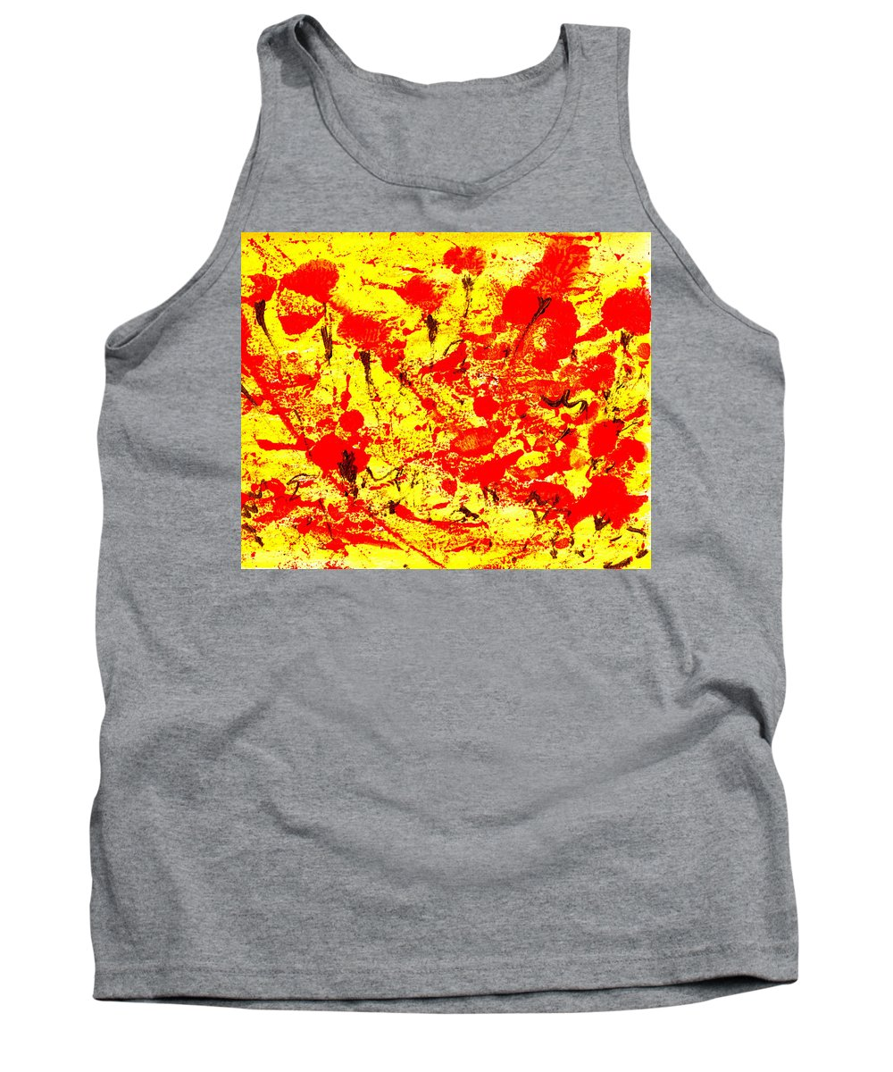 Abstract Tank Top featuring the painting Flying Poppies by Wayne Potrafka