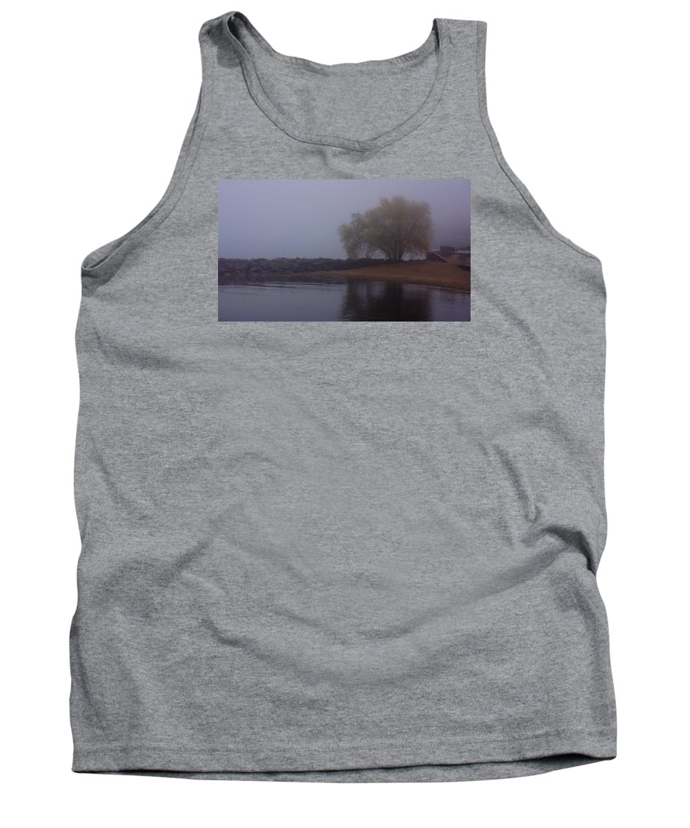 Fog Tank Top featuring the photograph Fog Lake Tree by Brooke Bowdren