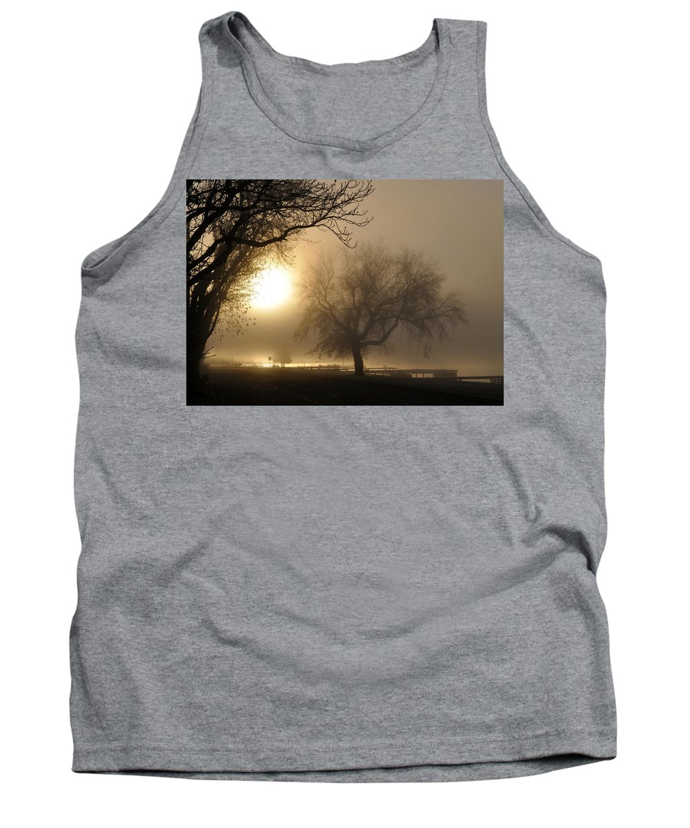 Foggy Tank Top featuring the photograph Foggy November Sunrise On The Bay by Tim Nyberg