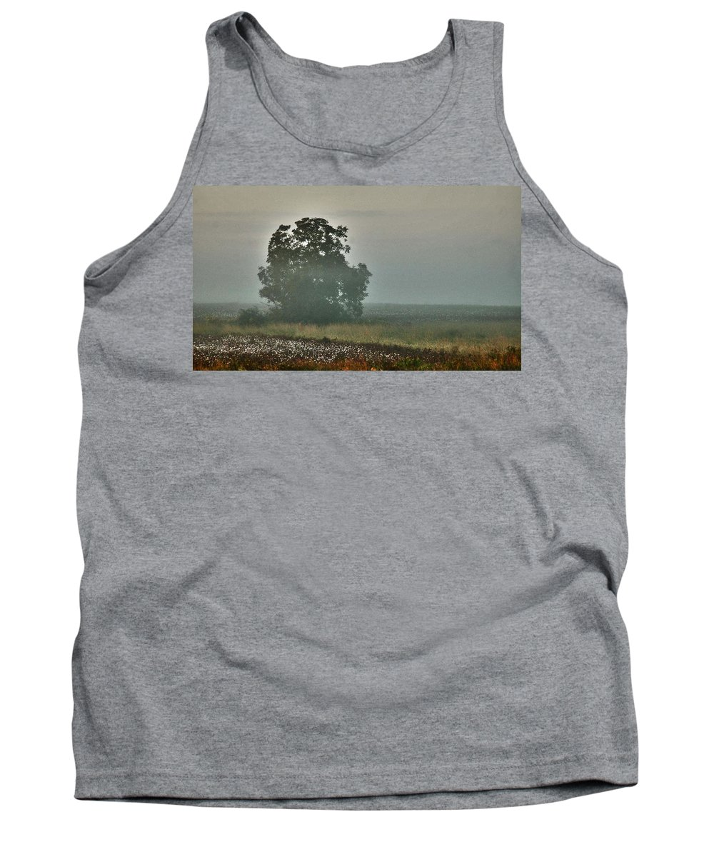 Flowers Tank Top featuring the digital art Foggy Tree In The Field by Michael Thomas