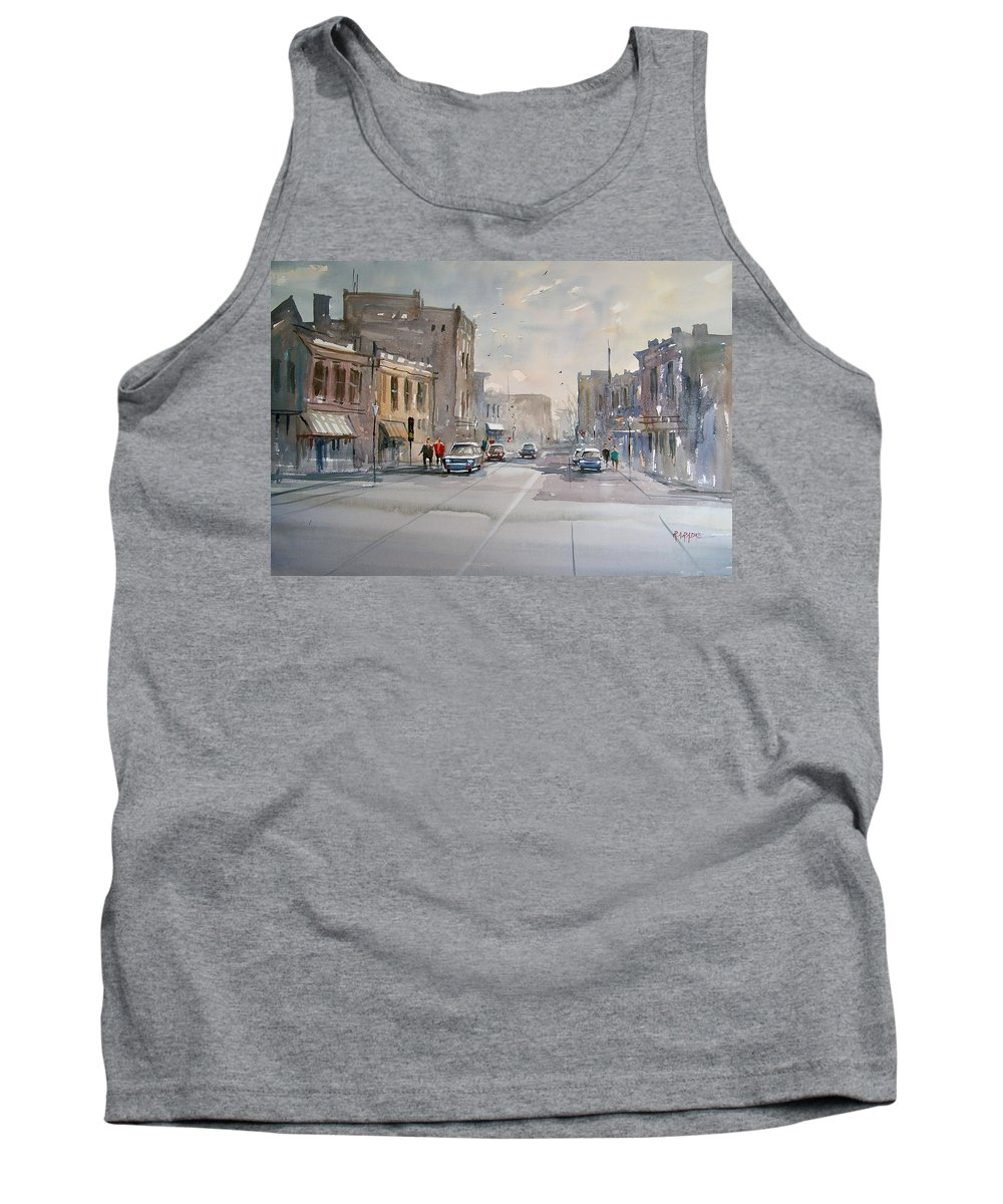 Watercolor Tank Top featuring the painting Fond Du Lac - Main Street by Ryan Radke