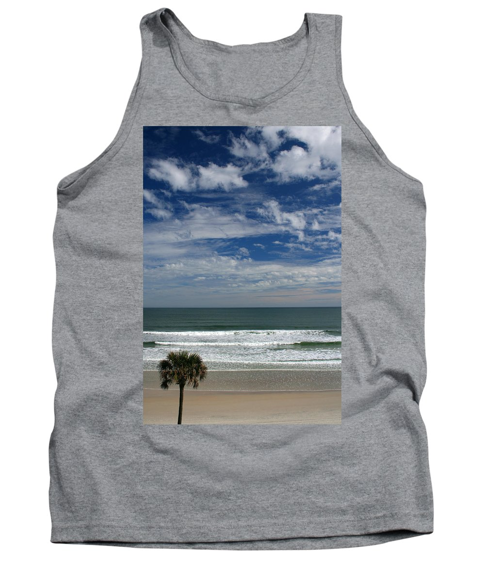 Beach Sky Cloud Clouds Blue Water Wave Waves Palmtree Tree Palm Sand Sun Sunny Vacation Travel Tank Top featuring the photograph For Your Pleasure by Andrei Shliakhau