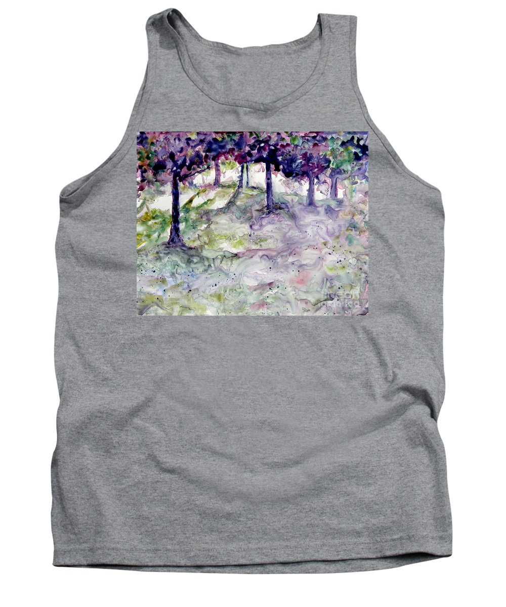 Fastasy Tank Top featuring the painting Forest Fantasy by Jan Bennicoff