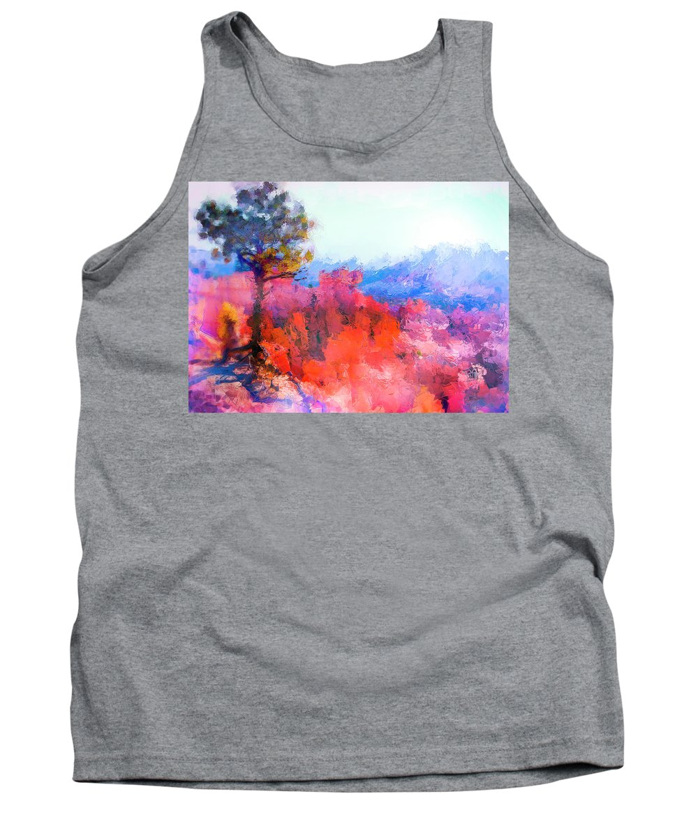Digital Art Tank Top featuring the digital art Fractured Landscape by Philip Lodwick Wilkinson