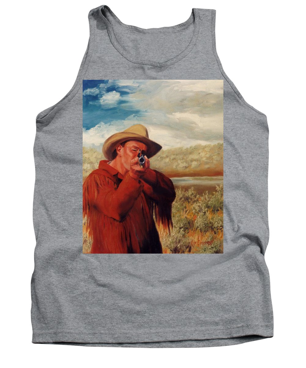 Cowboy Tank Top featuring the painting Freeze  Rifleman with Muzzle Loader Western Painting by Kim Corpany
