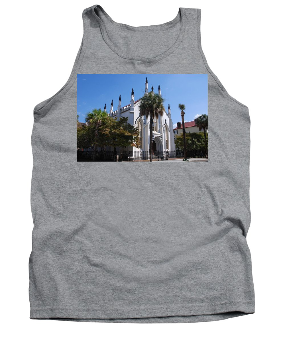 Photography Tank Top featuring the photograph French Huguenot Church In Charleston by Susanne Van Hulst