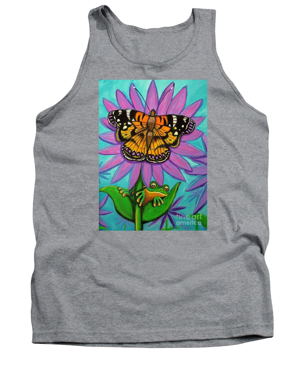Frog And Butterfly Painting Tank Top featuring the painting Frog And Butterfly by Nick Gustafson