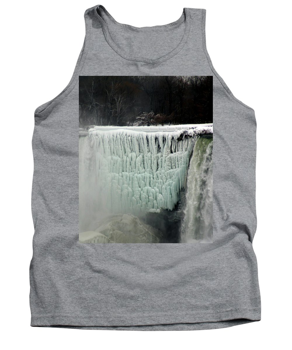 Landscape Tank Top featuring the photograph Frozen Falls by Anthony Jones
