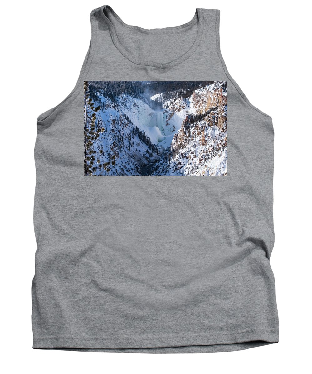 Yellowstone National Park Tank Top featuring the photograph Frozen Lower Falls by Bob Phillips