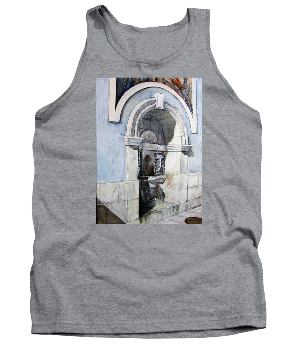 Fuente Tank Top featuring the painting Fuente Castro Urdiales by Tomas Castano