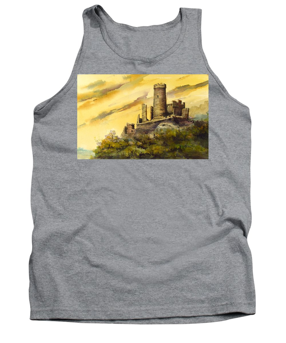 Castle Tank Top featuring the painting Furstenburg On The Rhine by Sam Sidders