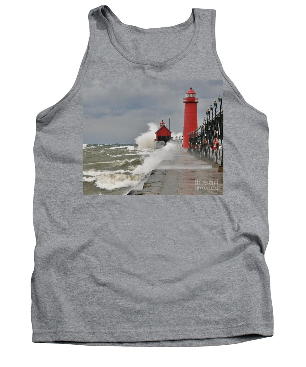 Light House Tank Top featuring the photograph Gale Warnings by Robert Pearson