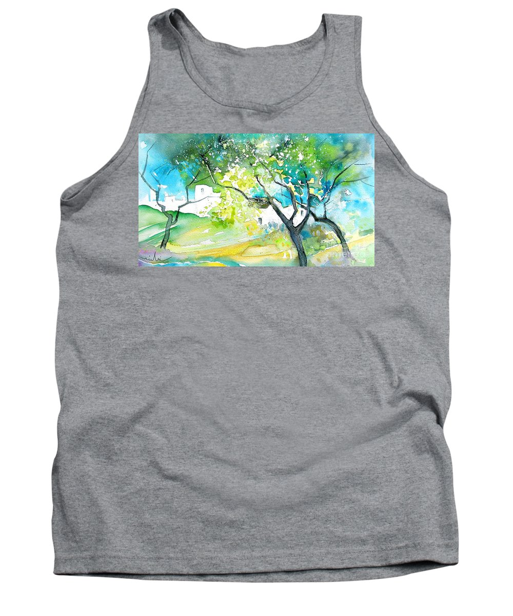 Spain Painting Water Colour Sketch Travel Gatova Tank Top featuring the painting Gatova Spain 04 by Miki De Goodaboom