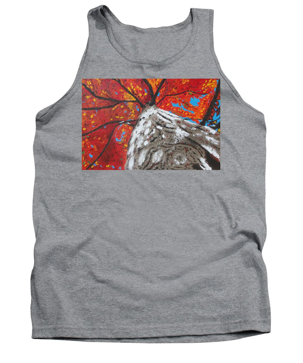 Tree Tank Top featuring the painting Gazing Above by Ricklene Wren