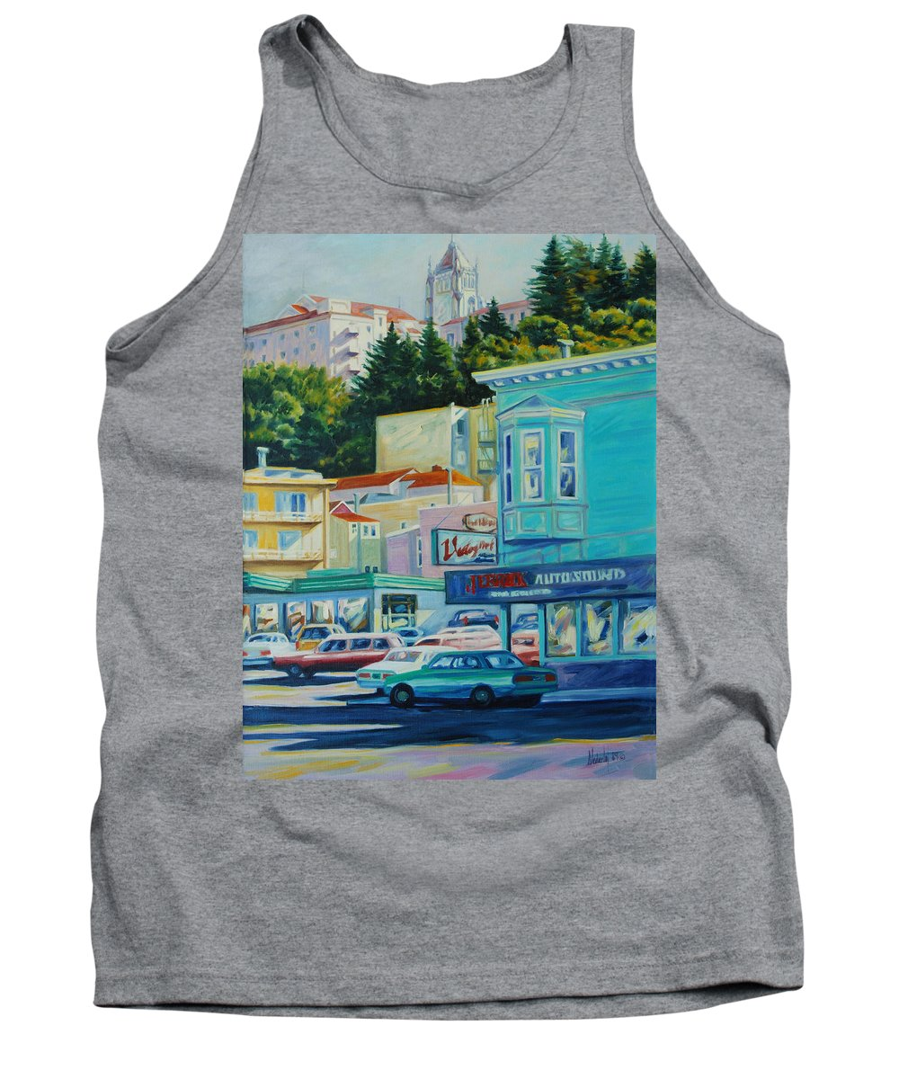 Cityscape Tank Top featuring the painting Geary Street by Rick Nederlof