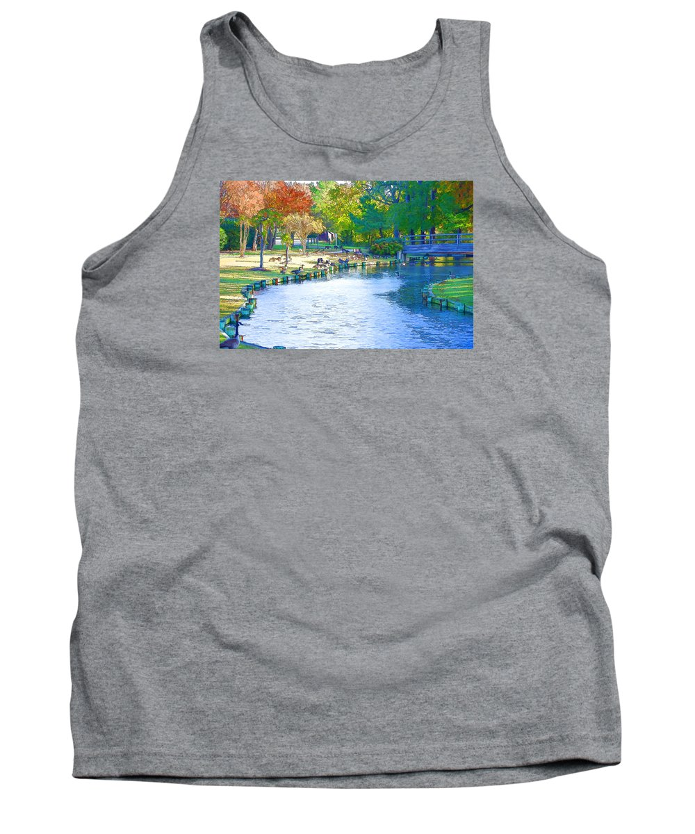 Destination Tank Top featuring the painting Geese In Pond 2 by Jeelan Clark