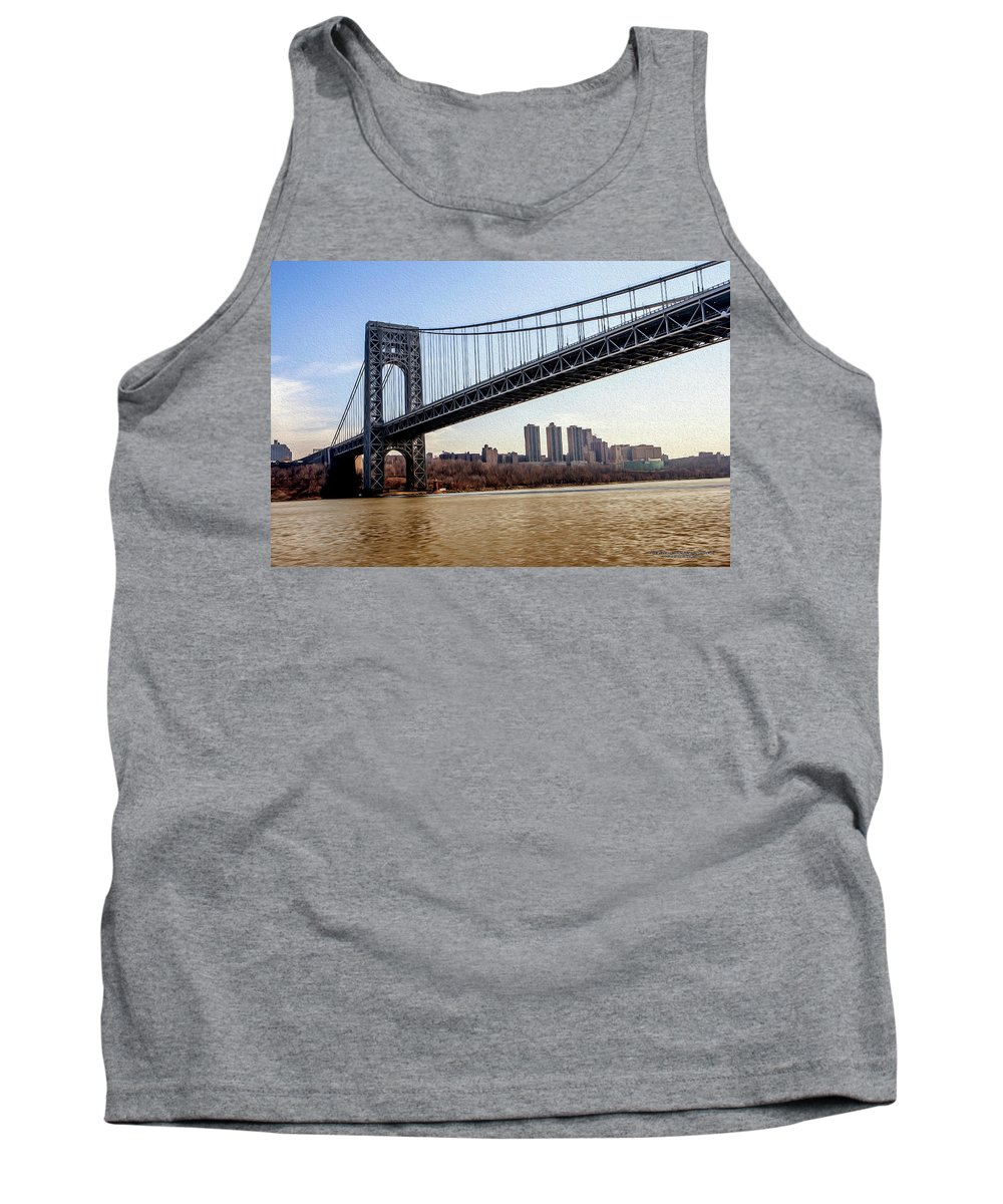Bridge Tank Top featuring the digital art George Washington Bridge by Christopher Eng-Wong