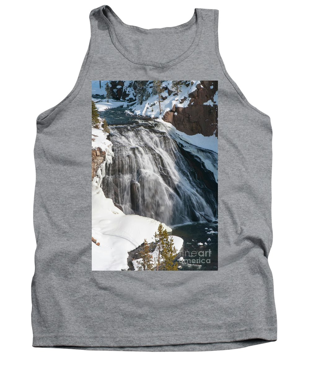 Yellowstone National Park Tank Top featuring the photograph Gibbon Falls by Bob Phillips