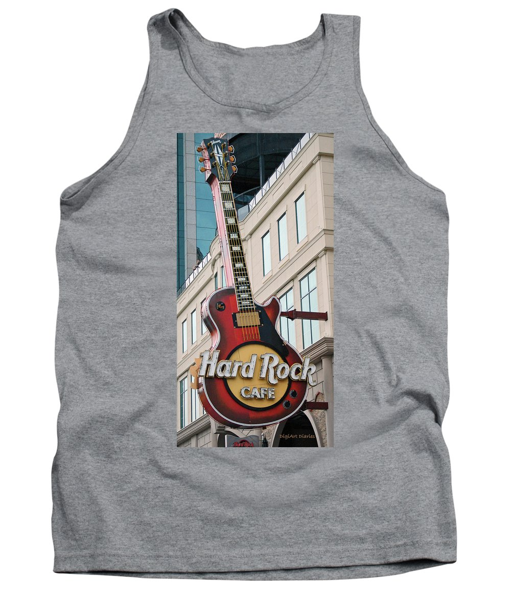 Guitar Tank Top featuring the digital art Gibson Les Paul Of The Hard Rock Cafe by DigiArt Diaries by Vicky B Fuller