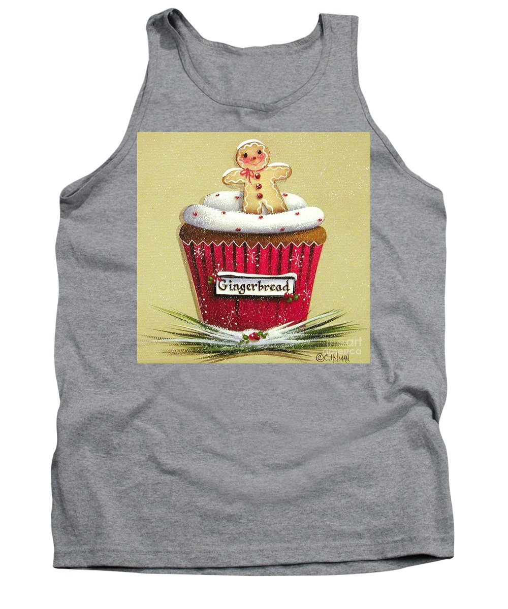 Art Tank Top featuring the painting Gingerbread Cookie Cupcake by Catherine Holman