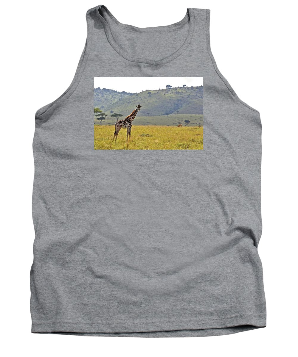 Africa Tank Top featuring the photograph Giraffe On The Mara by Alisha Anderson
