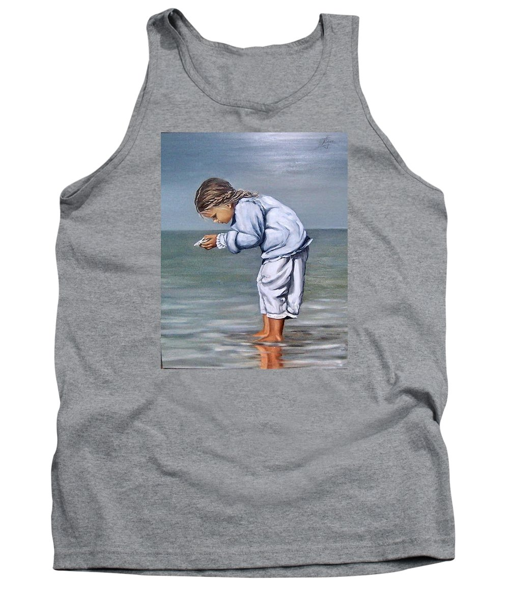 Kid Girl Seascape Sea Children Reflection Water Sea Shell Figurative Tank Top featuring the painting Girl With Shell by Natalia Tejera