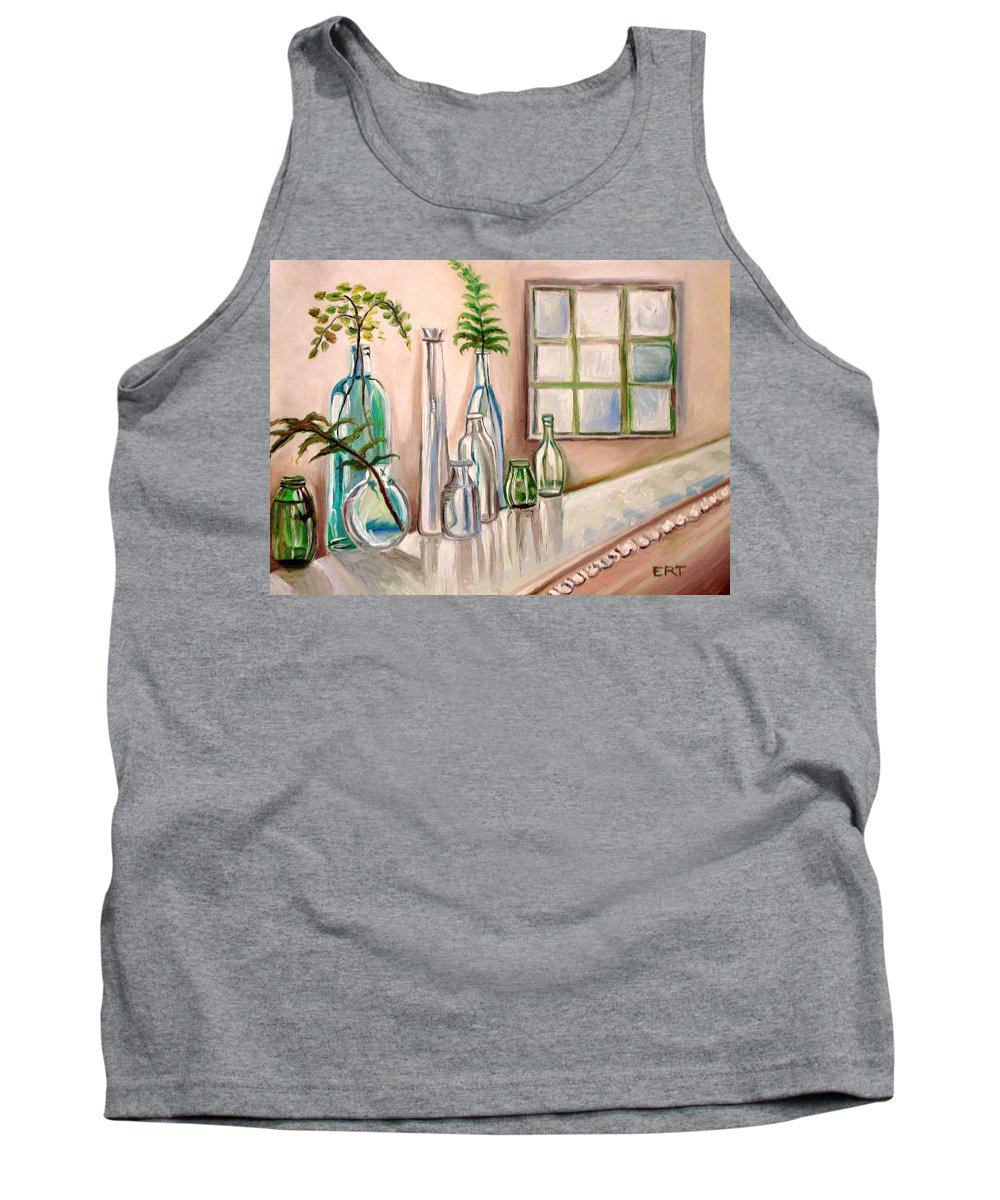 Glass Tank Top featuring the painting Glass And Ferns by Elizabeth Robinette Tyndall