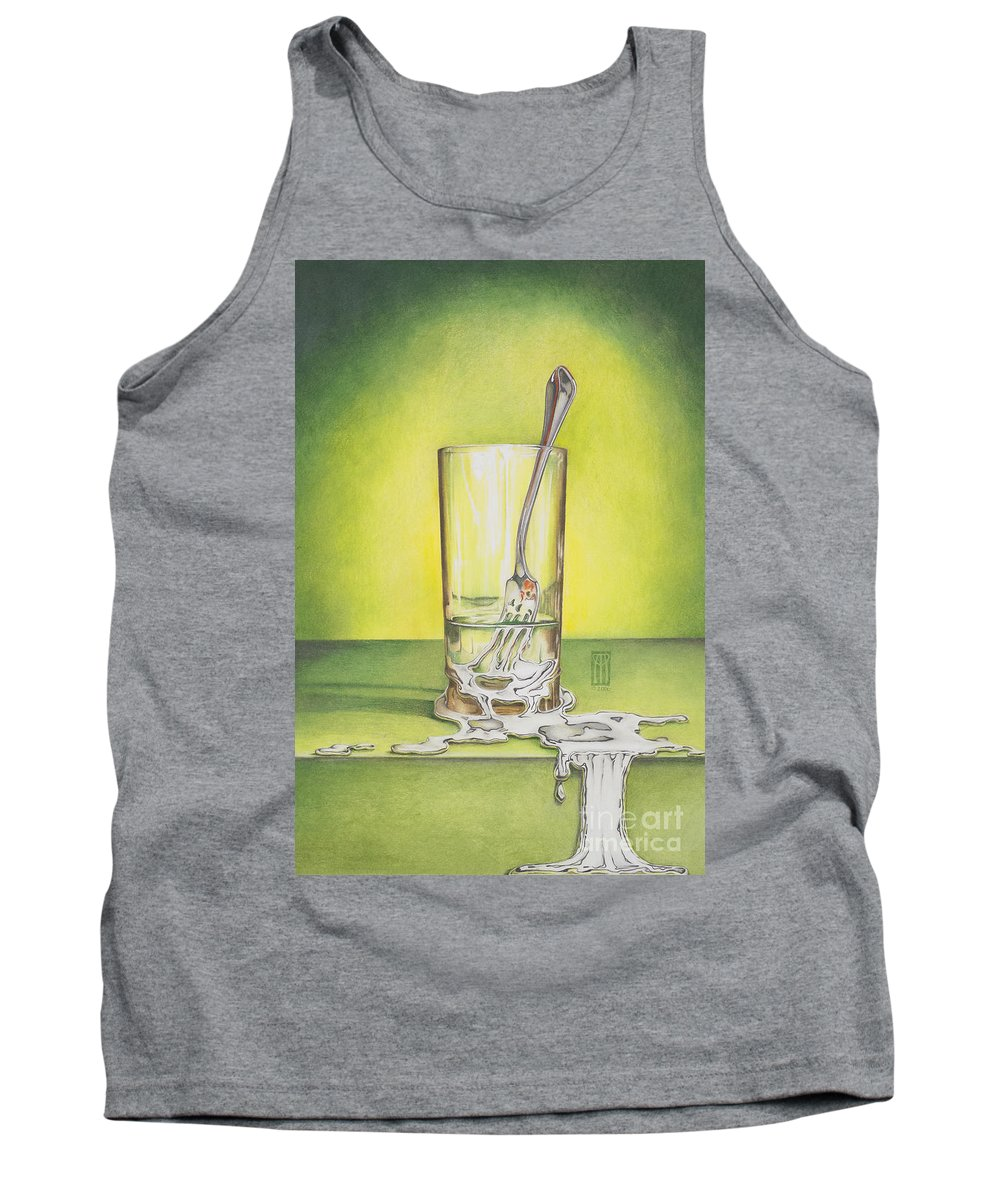 Bizarre Tank Top featuring the painting Glass With Melting Fork by Melissa A Benson