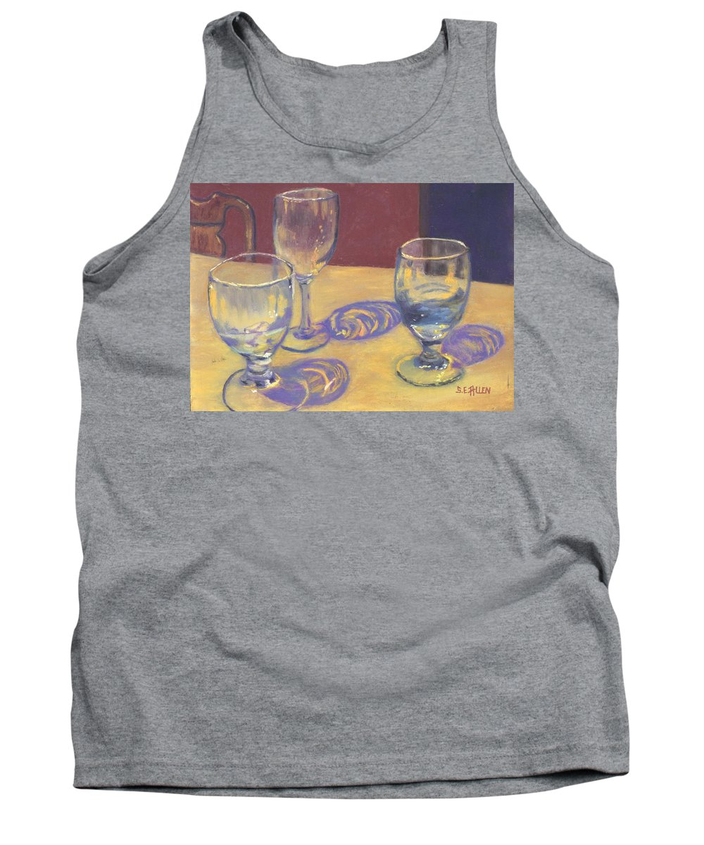 Glasses Tank Top featuring the painting Glasslights by Sharon E Allen
