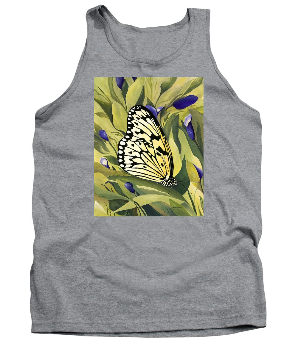 Gold Butterfly Paintings Tank Top featuring the painting Gold Butterfly In Branson by Mary Ann King