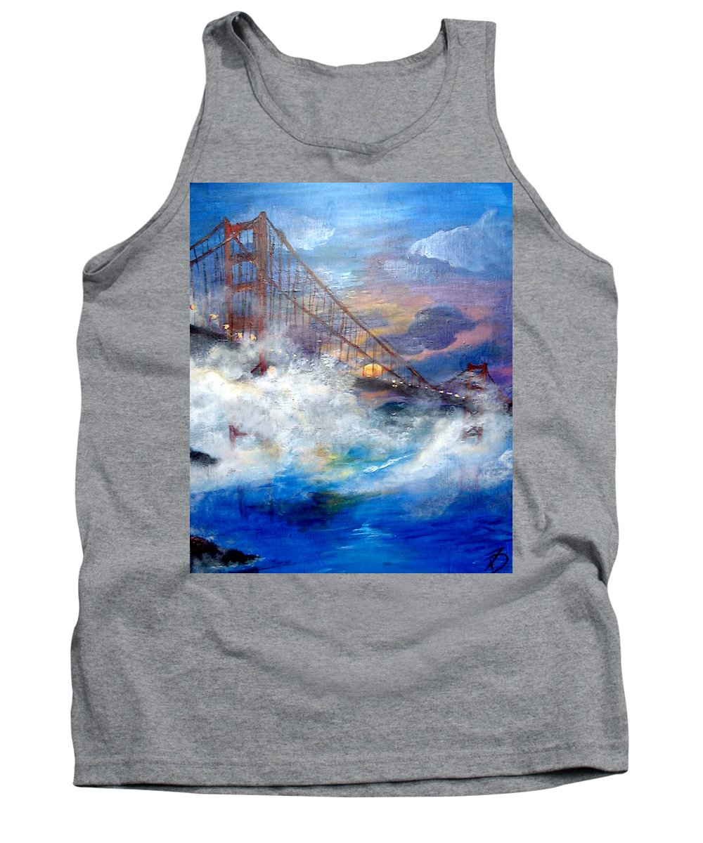 Golden Gate Tank Top featuring the painting Golden Gate Sunset by Travis Day