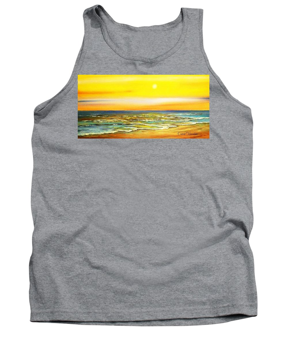 Ocean Tank Top featuring the painting Sunset Beach by Dawn Hawkins