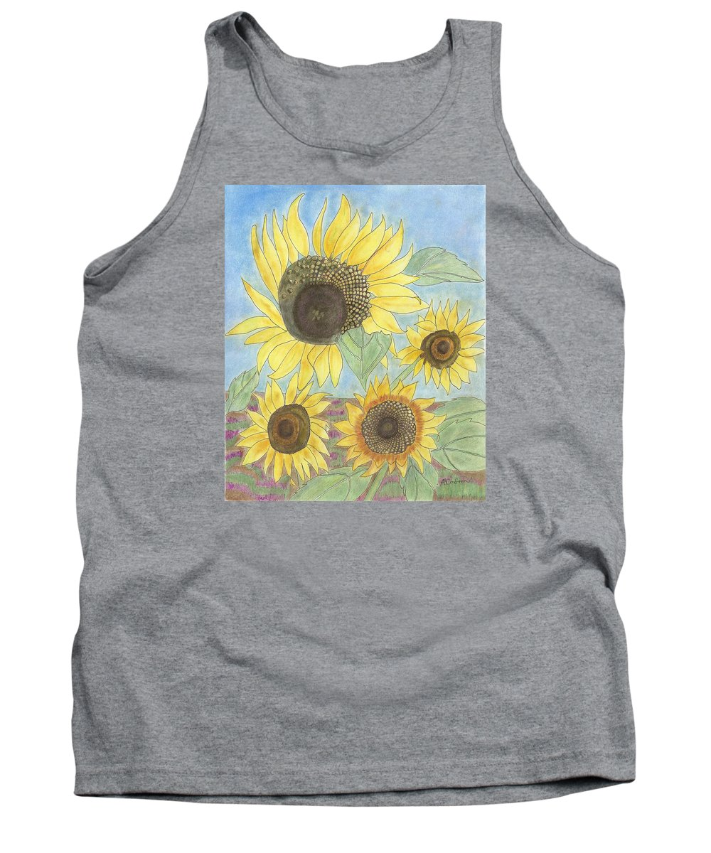 Sunflowers Tank Top featuring the drawing Golden Quartet by Arlene Crafton