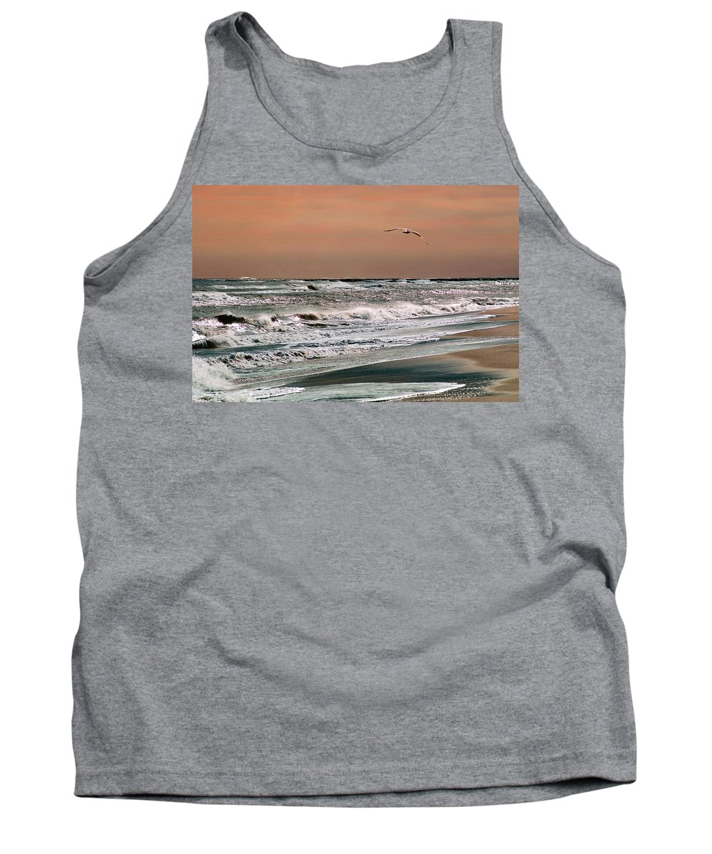 Seascape Tank Top featuring the photograph Golden Shore by Steve Karol