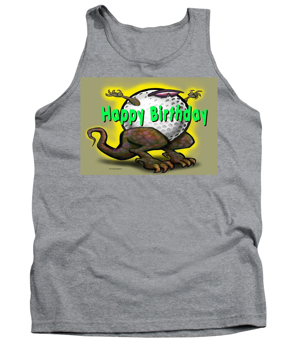 Golf Tank Top featuring the greeting card Golf A Saurus Birthday by Kevin Middleton