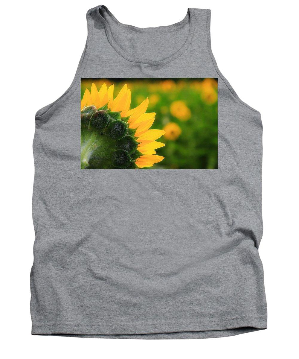Sunflower Flower Petals Yellow Tank Top featuring the photograph Good Morning Fellas by Scott Bolden