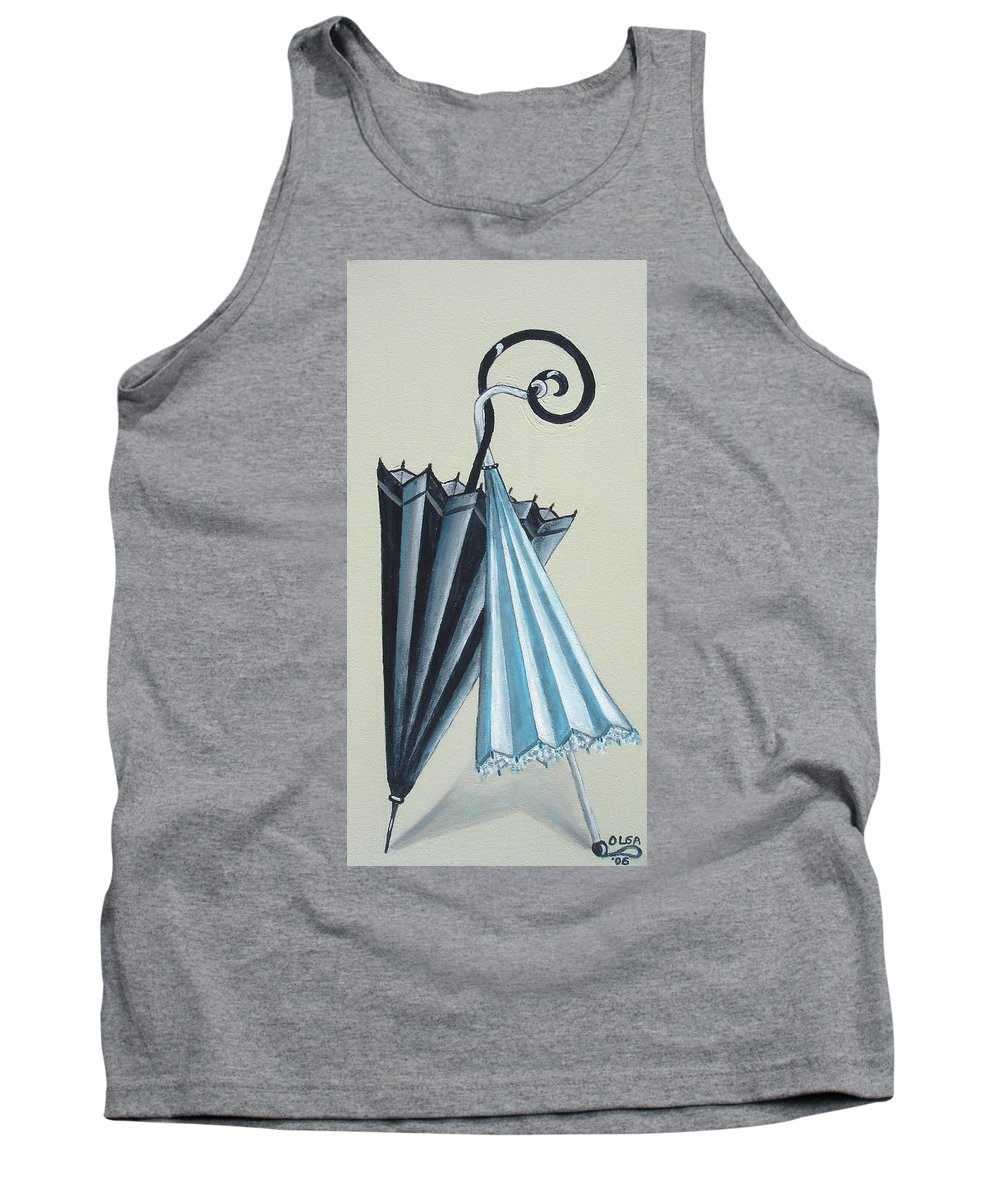 Umbrellas Tank Top featuring the painting Goog Morning by Olga Alexeeva